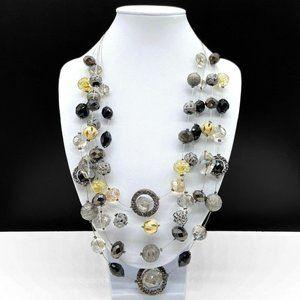 Erica Lyons Multi Strand Statement Necklace Black